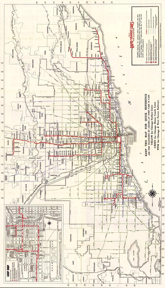 The Old Chicago 'L' Lines – Gozamos Chicago L Train Map on
