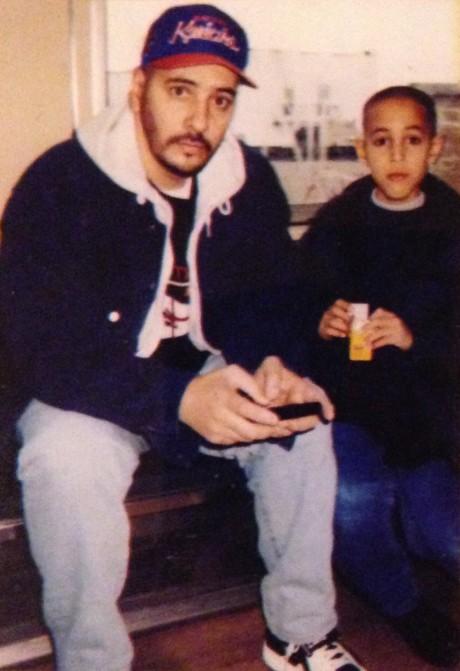 My father And I on a Brooklyn train, circa 1993