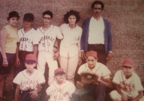 The Muñiz family, circa 1968. (Top row, left to right: Titi Jenny, Tio Eddie, my father Stanley, Grandma Cucha/Cruzita, Grandpa Ernesto. Bottom row, left to right: Tio Gilbert, Tio Richie, Tio Luis, Tio Mike)
