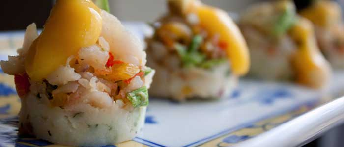 shrimp-causa-with-mango-sauce