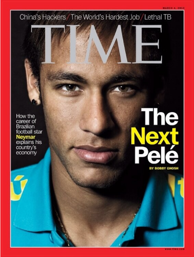 Neymar's face graces the cover of Time in February 2013