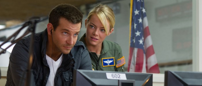 """Bradley Cooper, left, and Emma Stone star in Columbia Pictures' """"Aloha."""""""