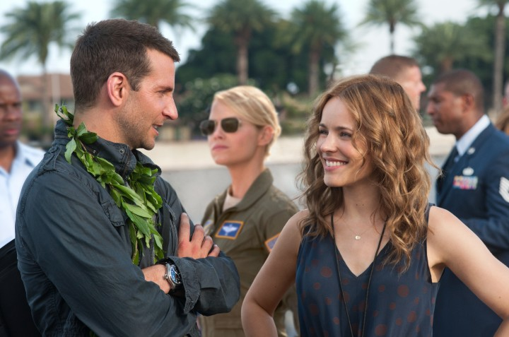 "L-r, Bradley Cooper, Emma Stone and Rachel McAdams star in Columbia Pictures' ""Aloha."""
