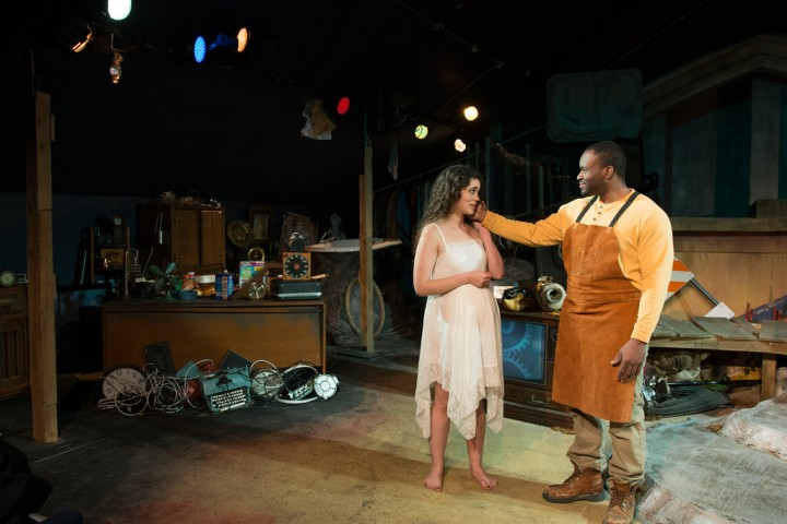 "Allyce Torres and Robert N. Isaac in the Chicago premiere of ""Estrella Cruz [the junkyard queen] at Halcyon Theatre. Photo: Tom McGrath."