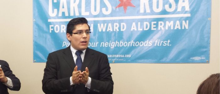 Carlos Ramirez-Rosa speaking to supporters during his 2015 campaign for Chicago alderman (Parkridge87/Wikimedia Commons)