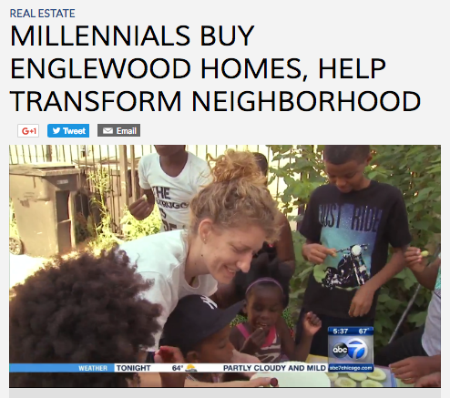 ABC7 recently featured the Blackwells, a young millenial couple, who moved into Englewood. Hannah Blackwell is shown here interacting with neighborhood kids. (ABC7)