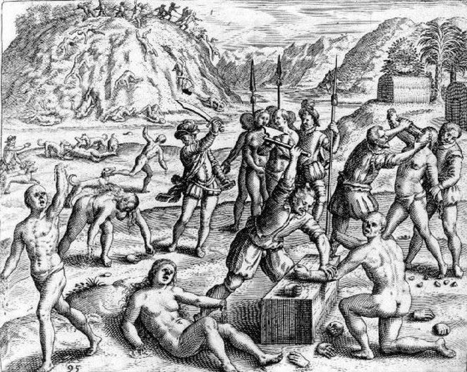 Spanish conquistadors slaughtering Taínos