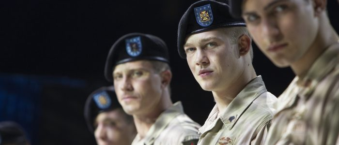 The Bravos make their appearance on the Halftime stage with Billy Joe Alwyn, center)  in TriStar Pictures' BILLY LYNN'S LONG HALFTIME WALK.
